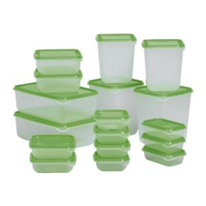 IKEA Pruta various sized food storage containers clear with green lids