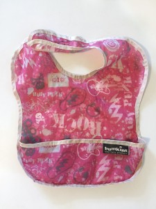 Bumkins bib with pocket and velcro in pink rocker print