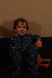 A four year old boy smiling with a stuffed giraffe on a navy sofa