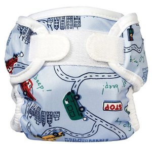 Bummis Super Whisper Wrap diaper cover shown fastened without a baby in it in big city print