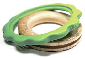 Begin Again green ring teether with maple wood inner chew toy and bio resin outer chew ring
