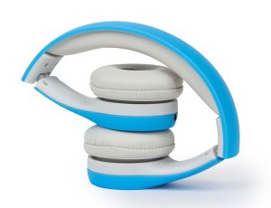Kidz Gear Wired headphones for toddlers and kids in blue shown folded up