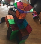 Magna Tiles structure built with magnetic tile building blocks