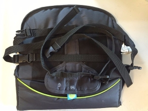 Brica Fold N Go Travel booster seat shown folded