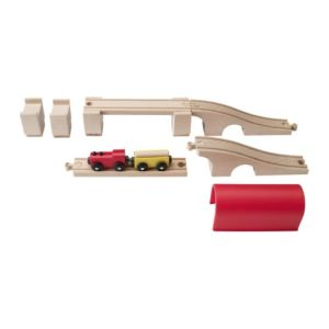 IKEA Lillabo 12 piece bridge and tunnel expansion set with red engine and yellow freight car carrying small wooden log