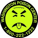 Mr Yuk poison prevention sticker showing a face made from black lines on a white background sticking its tongue out with eyes closed