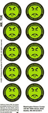 A sheet of 10 Mr Yuk poison prevention stickers showing a face made from black lines on a yellow background with tongue sticking out and eyes closed
