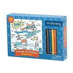 Mudpuppy color in 24 piece puzzle Superhero version shown in box with five crayons included