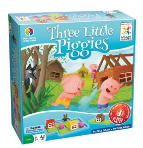 Three Little Piggies logic puzzle game for preschoolers by Smart Games front of blue box shown with illustration of three little pigs story