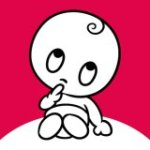 Wonder Weeks App logo featuring an infant sitting up wearing a diaper with one finger to the mouth in a thoughtful pose in cartoon drawing on hot pink background