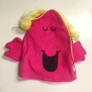 Little Miss Chatterbox puppet bath mitt washcloth by Roger Hargreaves