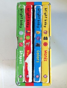 Spines of Bright Baby touch and feel books by Roger Priddy shown in slipcase
