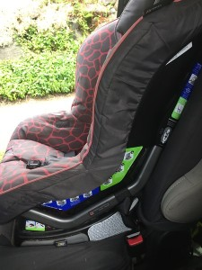 Side view with all the labels on a Britax Marathon convertible car seat