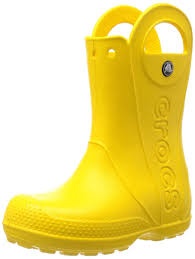 Crocs Kids Handle It rain boot in bright yellow seen from the side