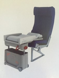 JetKids Bedbox shown installed on an airplane seat