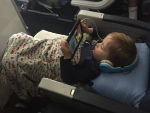 Two and a half year old lying down with the use of a JetKids BedBox