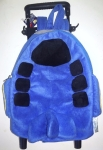 Popatu Airplane Trolley backpack small suitcase for toddler in blue airplane shape on wheels with handle