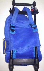 Backside with backpack straps of Popatu airplane trolley backpack wheeled suitcase