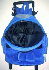Popatu airplane trolley backpack suitcase in blue shown unzipped with black lining inside