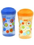 Nuk Ultimate Hard Spout Sippy Cups 2 Pack in orange and blue with polka dots design