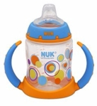 Nuk Learner soft spout sippy cup in 5 ounce size with handles in blue and orange with polka dot design