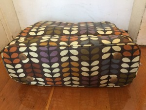 Orla Kiely baby diaper changing bag shown from the bottom