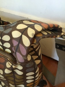 Orla Kiely baby diaper changing bag cracked material on strap handle