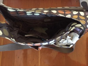 Orla Kiely baby diaper changing bag inside pockets shown from above