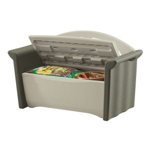Rubbermaid patio outdoor storage bench shown open with potting soil and extra large plant pot inside