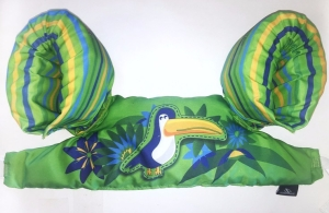 Stearns Puddle jumper life jacket in green with blue toucan and blue and yellow stripes