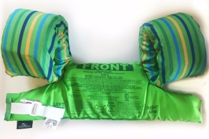 Backside of Stearns Puddle jumper life jacket in green with blue and yellow stripes on arm floats