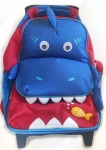 Yodo kids rolling backpack suitcase in blue sharkdesign