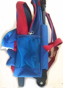 Side view of Yodo kids rolling backpack suitcase in shark design