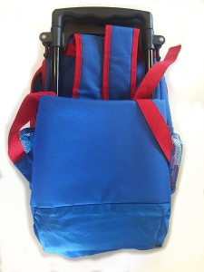Yodo kids rolling suitcase with backpack straps tucked in and wheels covered