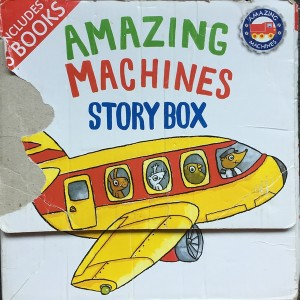 Story box carrying case of Amazing Machines paperback books by Tony Mitton