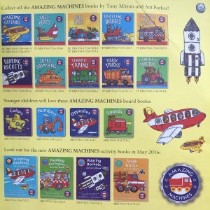 Full series of Amazing Machines paperback, board, and activity books by Tony Mitton