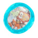 Boon Animal bag in turquoise blue filled with stuffed animals peeking through mesh window