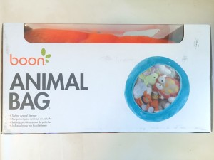 Orange Boon animal bag shown in box from side