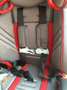 Five point harness restraint on a Graco Nautilus 3 in 1 booster seat