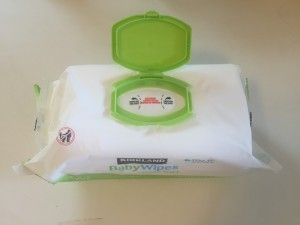 Brand new pack of Kirkland Signature fragrance free baby wipes with flip lid opened and sealed