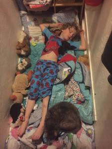 Child asleep on closet floor surrounded by stuffed animals and blankets