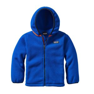 Patagonia fleece hooded full zipper cardigan in bright blue
