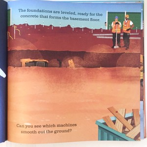 A full color page from On the Construction Site Shine A Light book by Usborne