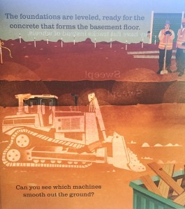 A color page with light revealing the hidden page in On the Construction Site Shine A Light book by Usborne
