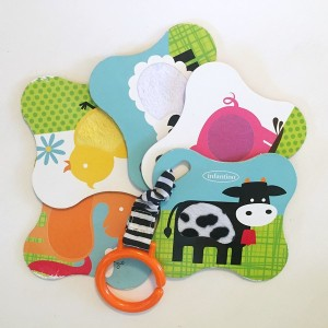 five farm animal touch and feel textured cards by Infantino shown fanned out