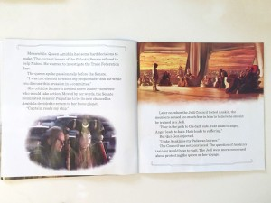 Inside page spread of Star Wars Read Along story book on CD