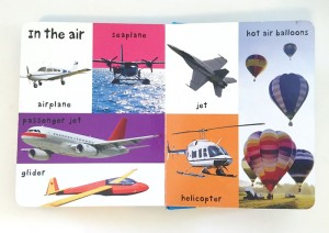 In the air page showing airplanes and other flying vehicles from First 100 Vehicles books by Roger Priddy Bright Baby books