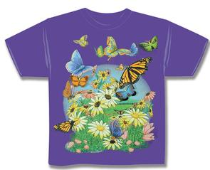 Wild things snap on toy purple shirt with removable plastic butterflies