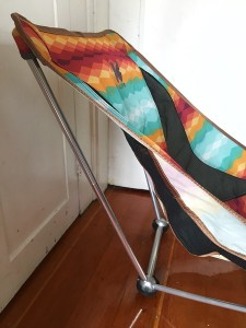 side view of Alite Designs Mayfly Chair in southwest pattern