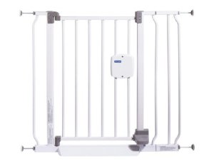 First Years Hands Free Baby gate in white with gray foot pedal